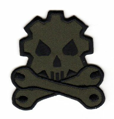 Army Tactical Morale Patch Biker Motorcycle Car Mechanic Wrench Gear Wheel Skull