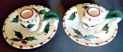Lefton Holly Pair Candlestick Holders Hand Decorated 033 Vintage