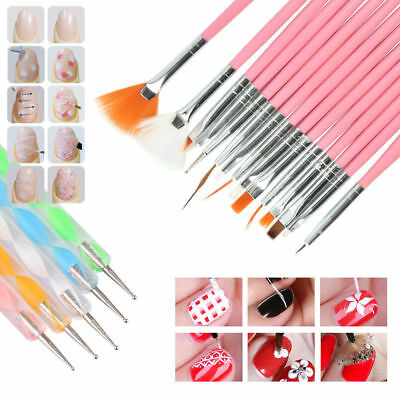 20 Pcs Nail Brushes Set Dotting Painting Drawing Nail Art Tools Polish Brush Pen