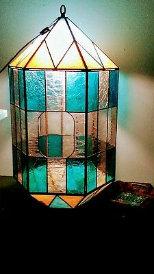 HUGE Vintage Hanging Swag Stained Glass Lamp Light 90 Panes Retro ooak Planter?