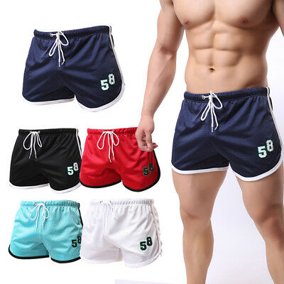 Men's Workout Sports Gym Shorts Running Jogging Mesh Beach Trunks Breathable