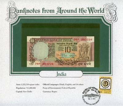 1975 INDIA 10 Rupee P81b & Postmark - (Banknotes From Around The World) - UNC