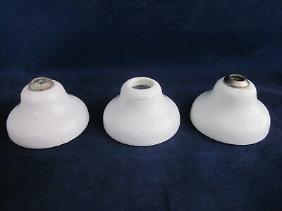 "Porcelain Faucet Tap Escutcheon Base 3"" White Set of 3 ~ ANTIQUE VINTAGE"