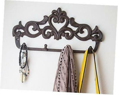 decorative cast iron wall hook rack - vintage design hanger with 4 hooks - for