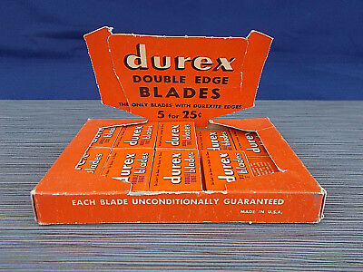 1950s Durex Double Edge Razor Blades Counter Full Display Pack 17 5-Packs