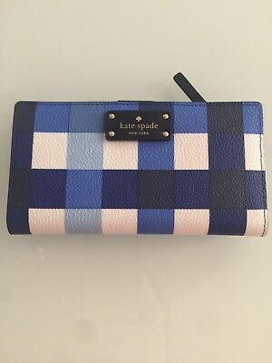 AUTHENTIC Kate Spade Grove Street Printed Stacy wallet Blue Gingham Print Wallet