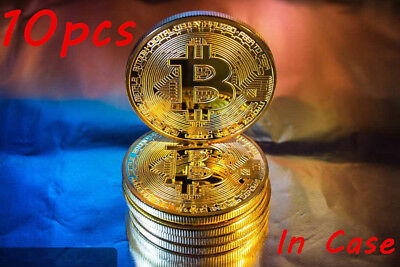10pcs Up Gold Bitcoin Commemorative Collectiable Coin is Gold Plated Coins
