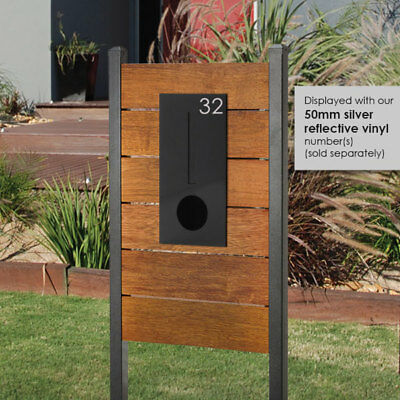 HENDON MERBAU REAL TIMBER Panel Letterbox + BLACK Front Mail box EASY DIY