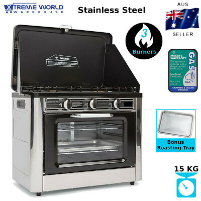 Powerful Portable Stainless Steel 3 Burner 3,500 BTU Outdoor Camping Oven