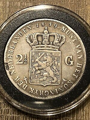 1859 NETHERLANDS Holland 2 1/2 GULDEN Silver in holder.