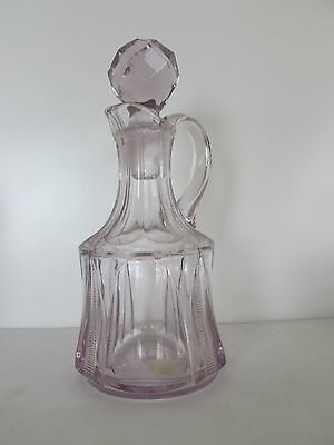 "Antique Victorian Crystal Sun Violet 7"" Panel+ Zipper Design Cruet And Stopper"