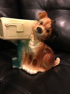 VINTAGE 1950's ROYAL COPLEY POTTERY PLANTER - ADORABLE PUPPY DOG WITH MAIL BOX