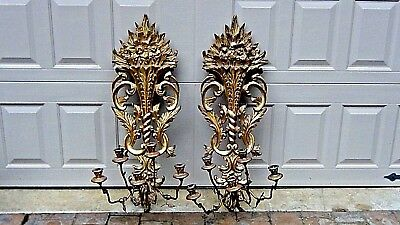 PAIR OF ITALIAN RENAISSANCE STYLE(1920c) HAND CARVED GILT 5 ARMS  WALL SCONCES