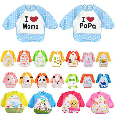 Cute Kids Baby Toddler Waterproof Long Sleeve Bib Cartoon Feeding Smock Apron