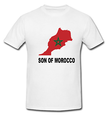 Son of Morocco Moroccan National Flag Map T-shirt White 100% Cotton