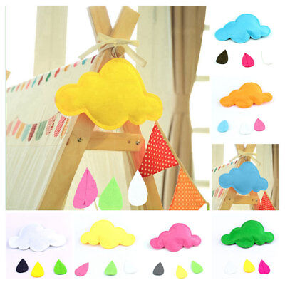 Handmade Cloud Rain Drop Wall Hanging Photo Prop Baby Nursery Kid Toy Room Décor