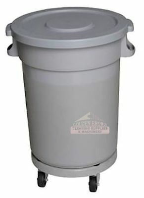 Rubbish Bin 120 Lit Gray with Lid Flat and Dolly with Wheel