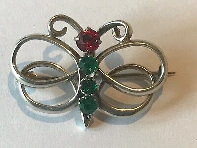 Art Nouveau Charles Horner C.H Butterfly Insect Jewel Brooch Pin Sterling Silver