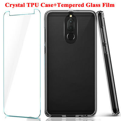 For Huawei Mate10 Lite/P10/P9 Clear Silicone Case Cover+Temper Glass Film Screen