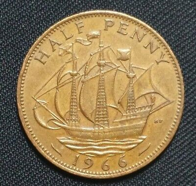 Great Britain Coin 1/2 Penny, 1966 #1512