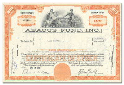 Abacus Fund, Inc. Stock Certificate (Became Part of Paine Webber, Neat Vignette)