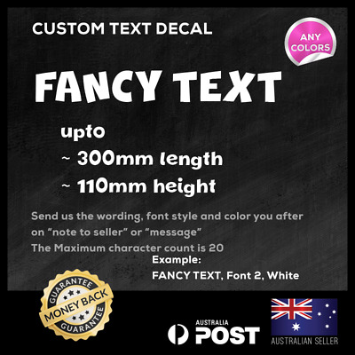 Custom Text Personalised Name Lettering Car Window Vinyl Decal Sticker 300mm