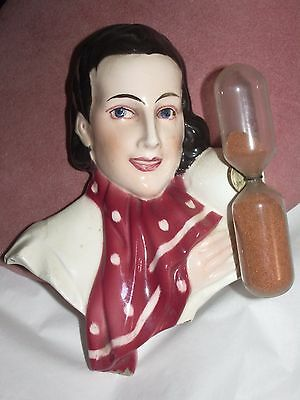 Antique vintage Germany hour glass timer pretty lady figurine As Is