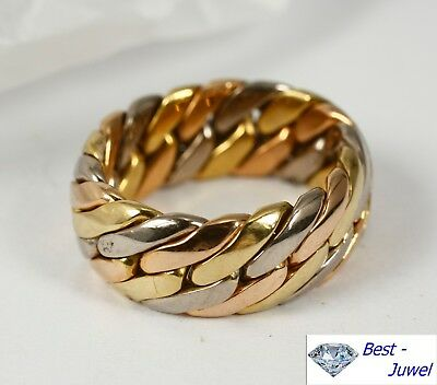 Ketten-Ring  in 750 Gold/Weiß/Rotgold
