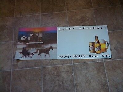 Vintage MILLER BEER Christmas HAPPY HOLIDAYS POSTER SIGN Wisconsin Wi. Bar