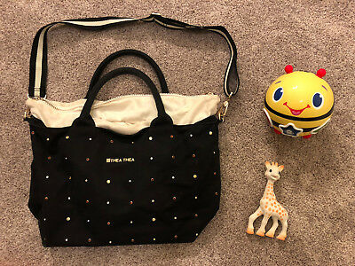 Thea Thea Madison Black Baby Bag with Baby Toys