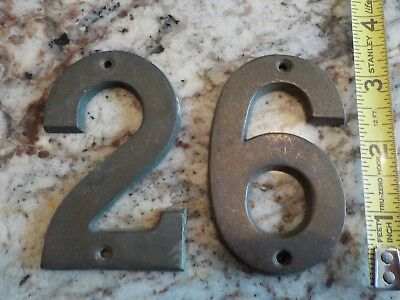 Antique Vintage Brass House Numbers / 26/62/ 29/92 Old Patina