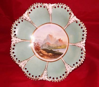 19Th C  Artist Signed Hand Painted Scenic Highlands Footed Compote