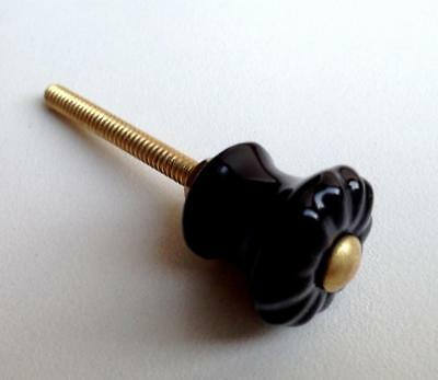 Small Black Porcelain Cabinet Knobs Drawer Pulls 7/8 Inch