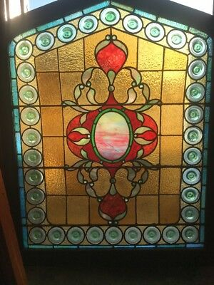 SG1766 amazing antique arch top jeweled Rondell landing window 36.5 x 46.75