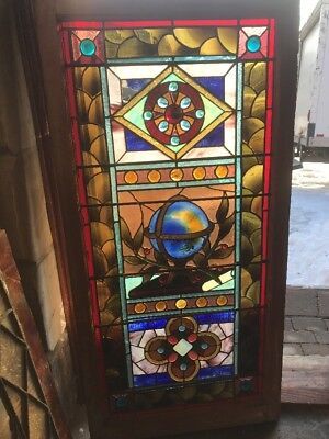 Sg1767 Antique Stained Glass Library Landing Window World Globe 26 X 53