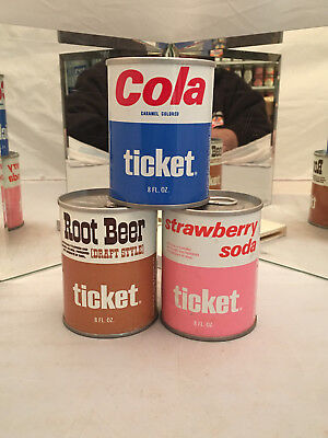 Ticket Cola, Root Beer and Strawberry soda cans - tough 8oz version