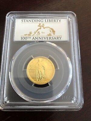 2016-W 100th ANNIVERSARY GOLD STANDING LIBERTY QUARTER *PCGS SP70 FIRST STRIKE*