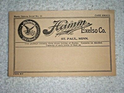 Hamm's Beer Package label Prohibition era 1920's Exelso