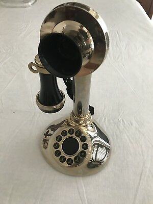 Candlestick Upright Telephone Push Button Vintage Style Old Fashion Antique gold