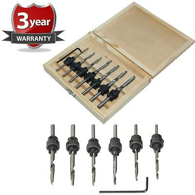 New 7Pc Tapered Drill Bits Countersink Set Adjustable Stop Collars Hex Key Pilot
