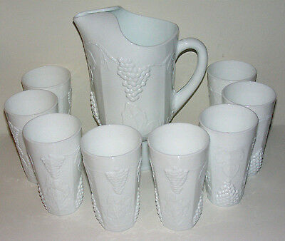 Vintage 9 Pc. Colony Indiana Glass Harvest Grape Milk Glass Pitcher & Tumbler