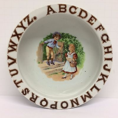 Antique ABC Alphabet Baby Child Ceramic Feeding Dish Bowl Plate Boy Girl Germany