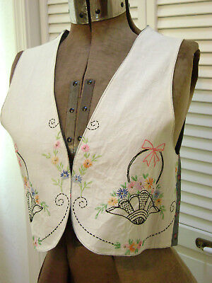 Vintage Embroidered Vest - Re-Purposed Vintage Linens -Boho Country