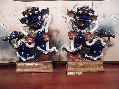 Pair Of Large Blue Beautiful Ceramic / Pottery Chinese Foo Dogs