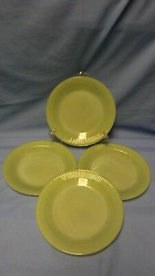 "4 Vtg. Jadeite Fire King Oven Ware Jane Ray Green Ribbed 9"" Dinner Plates Jadite"