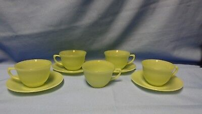 Vtg. Jadeite Fire King Oven Ware Jane Ray Green Ribbed 5 Cups & 4 Saucers Jadite