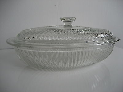 VTG Large Glass Casserole Dish/ Embossed Clear Oval 2QT Casserole~SALE!