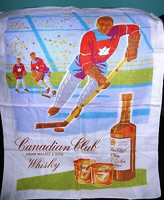 1950 / 60's Canadian Club Hockey cloth banner /  linen