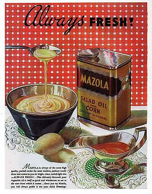 "MAZOLA SALAD OIL AD Repro 1930's Advertisement Art for Framing 7.75"" x 10"""
