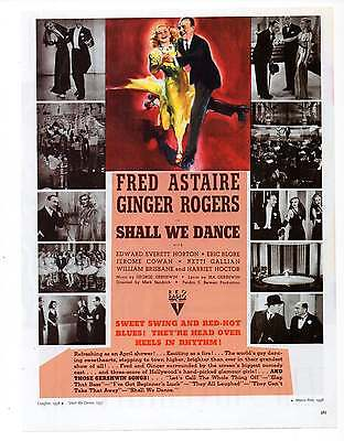 SHALL WE DANCE MOVIE AD, Fred Astaire, G Rogers, Repro 1930's Advertisement Art